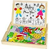 Lavagna Magnetica Bimbi Lavagnetta Legno Montessori Giochi Puzzle per Bambini 3 4 5 Anni, 71 Pezzi (Stile Casuale)