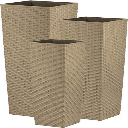 Plastique Set of 3 11.4L+16.3L+26.6L crazygadget/® Grand pot de fleurs en rotin Fleurs Fleurs Carr/é int/érieur ext/érieur jardin en plastique noir beige