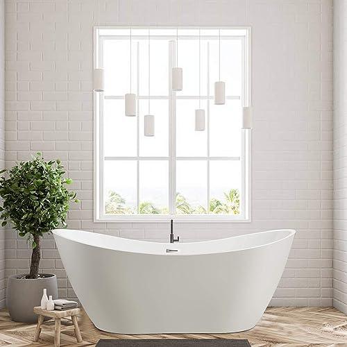 Vanity Art 70 Inch Freestanding Acrylic Bathtub Modern Stand Alone Soaking Tub