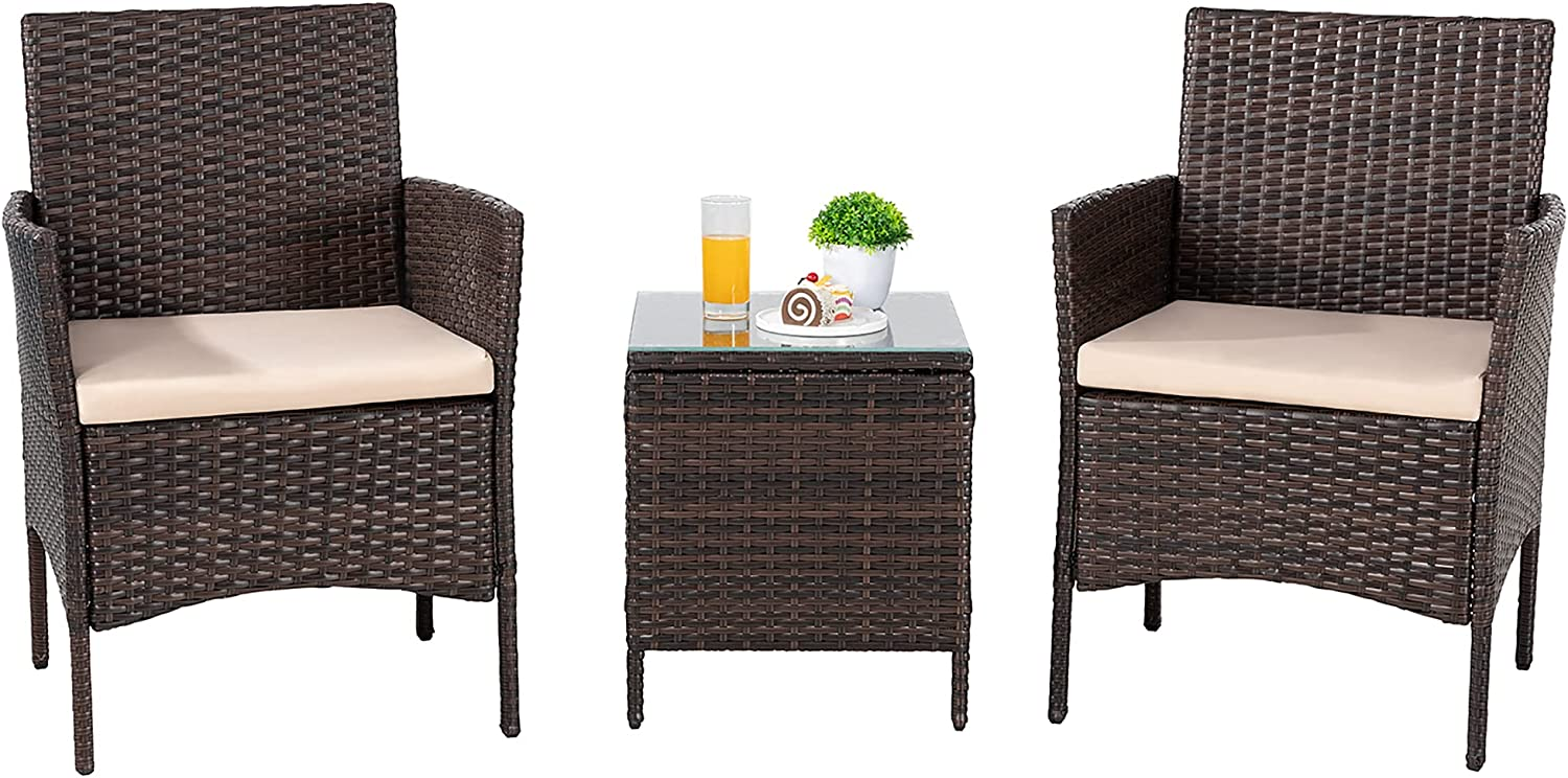 SUNLEI 3 Pieces Outdoor Patio Furniture Set,Wicker Bistro Set Outdoor Patio Set Rattan Chair Conversation Sets with Table for Yard Backyard Lawn Porch Poolside Balcony