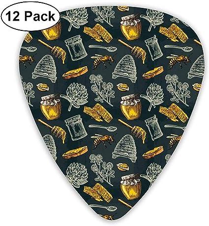 Honey Bee Hive Clover Spoon 12 Pack Púas de guitarra, guitarras eléctricas y acústicas: Amazon.es: Instrumentos musicales