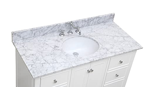 Awesome Kitchen Bath Collection KBC548WTCARR Bella Bathroom Vanity With Marble  Countertop, Cabinet With Soft Close Function And Undermount Ceramic Sink,  ...