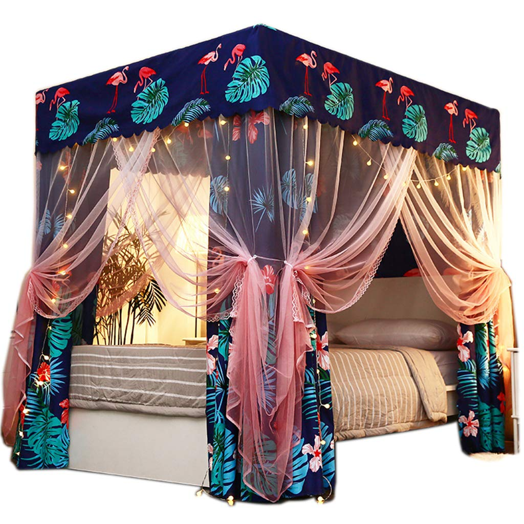 Obokidly 2-in-1 Bedding Mosquito Net Anti-Glare Cute Four Corner Post Bed Curtain Canopy Windproof Lightproof for Girls Boys Kids Teens Gift Home Bedroom Decoration (Flamigo, California King)