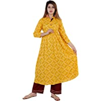 Cottonwalas Party Wear Indian Tunic Tops Women's Checkered Printed Rayon Kurtis_Yellow