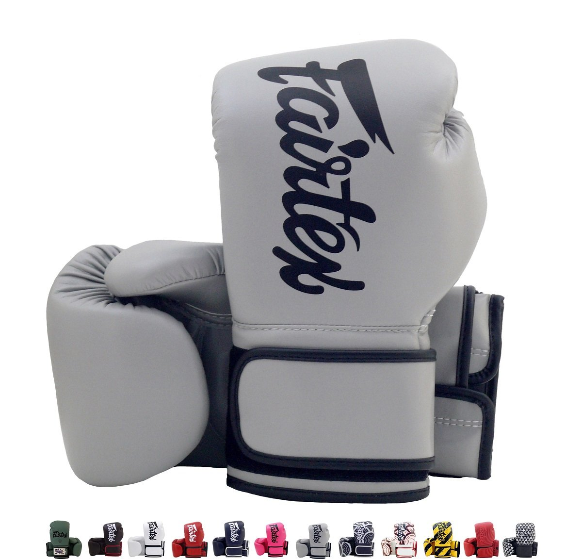 Fairtex BGV14 Microfibre Boxing Gloves Muay Thai Boxing, MMA, Kickboxing,Training Boxing Equipment, Gear for Martial Art (Gray, 12 oz)
