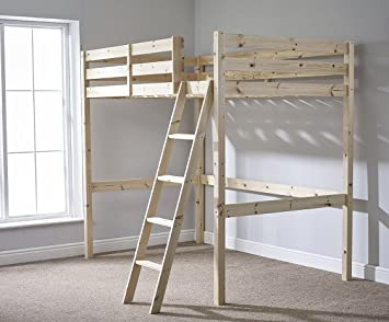 Double 4ft 6 Loft Bunkbed Wooden High Sleeper Can Be Used By