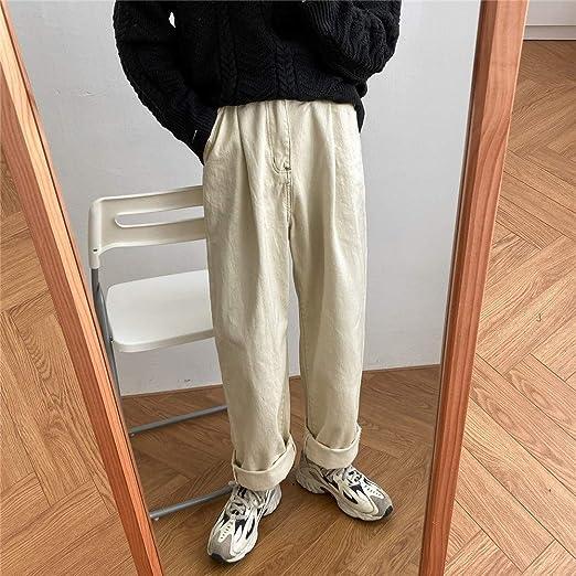 デニム パンツ ジーンズ メンズ ヴィンテージ ストレッチデニム ロング丈 ボトムス大きいサイズ おしゃれ かっこいい 秋 メンズ カジュアルパンツ ワイドレッグパンツ ストレート 韓国 M L XL (Color : ベージュ, Size : M)