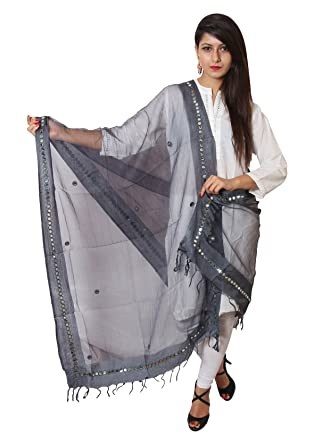 Vasavi Women's Silk Dupatta (Grey)[Get Additional 10% Discount ] ] The Great Indain Sale Women's Chunnis & Dupattas at amazon