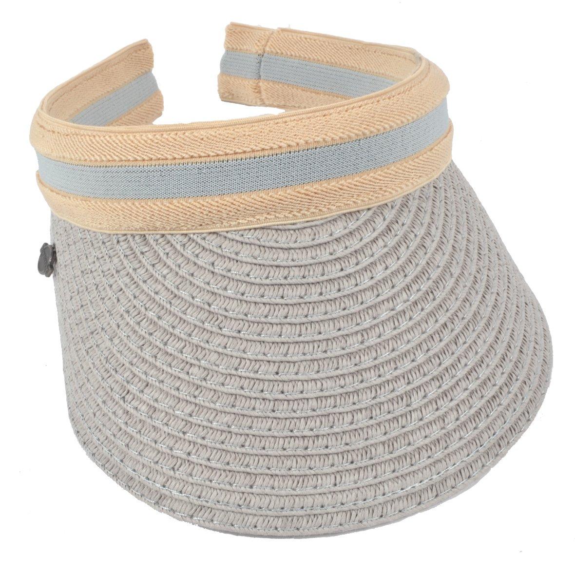 Women Sun Straw Visor Hat UV Protection Golf Beach Outdoor Sports Summer Hat V201 (Grey)