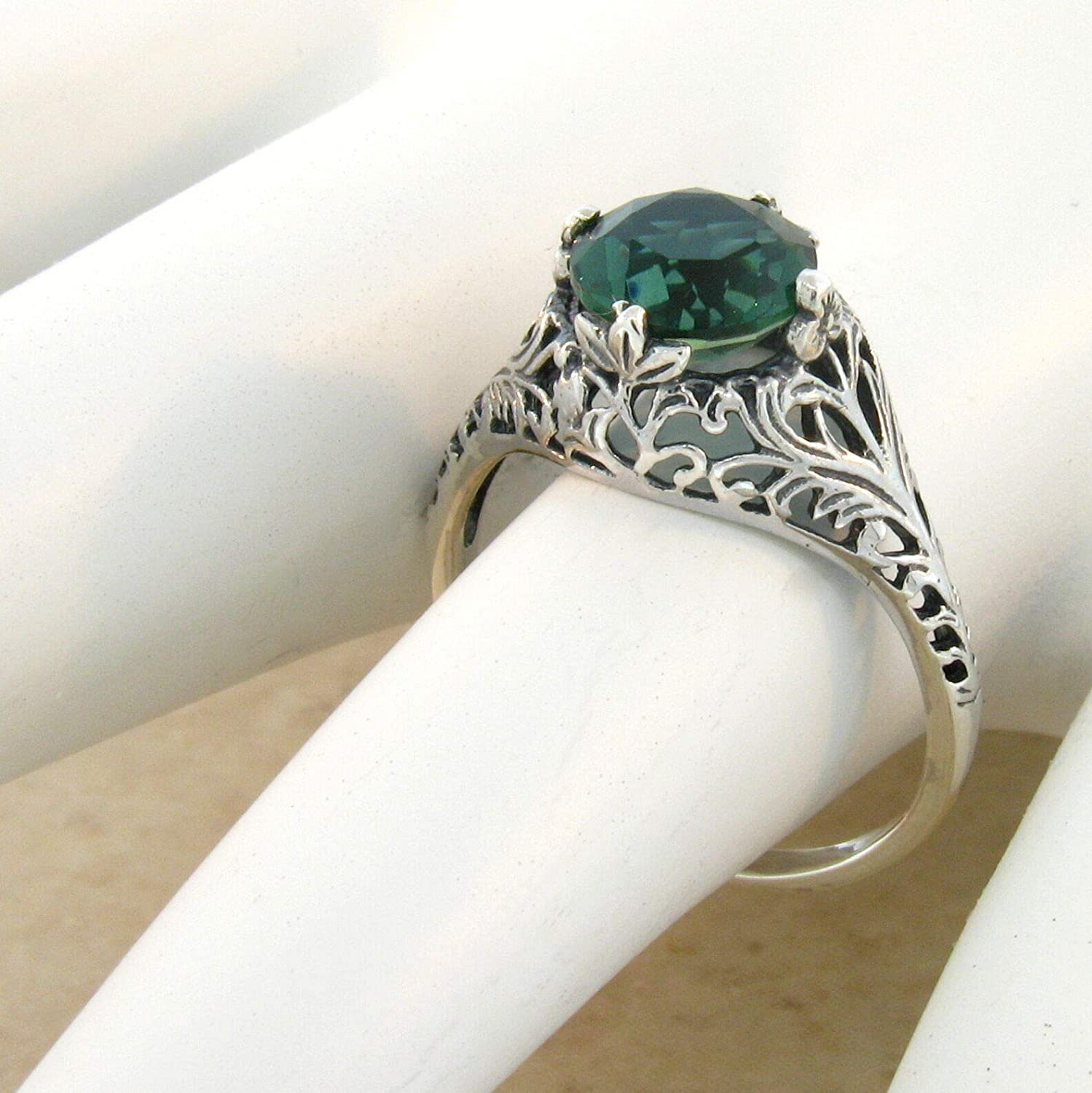 Green LAB Amethyst .925 Sterling Antique Style Silver Ring Size 7.75 KN-2916
