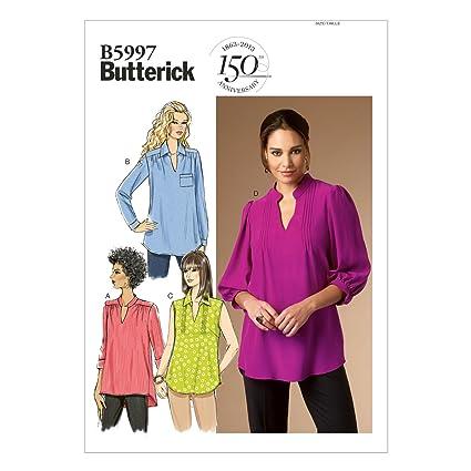 Butterick Patterns 5997 RR - Patrones de costura de blusas para mujer (tallas 46-