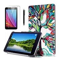 Huawei MediaPad T1 7'' Tablet Custodia Flip,Smart Cover BookStyle Custodia Cover in Pelle per HuaWei T1-701U Tablet de 7'' Pollici con Supporto + pellicola protettiva + Pennino