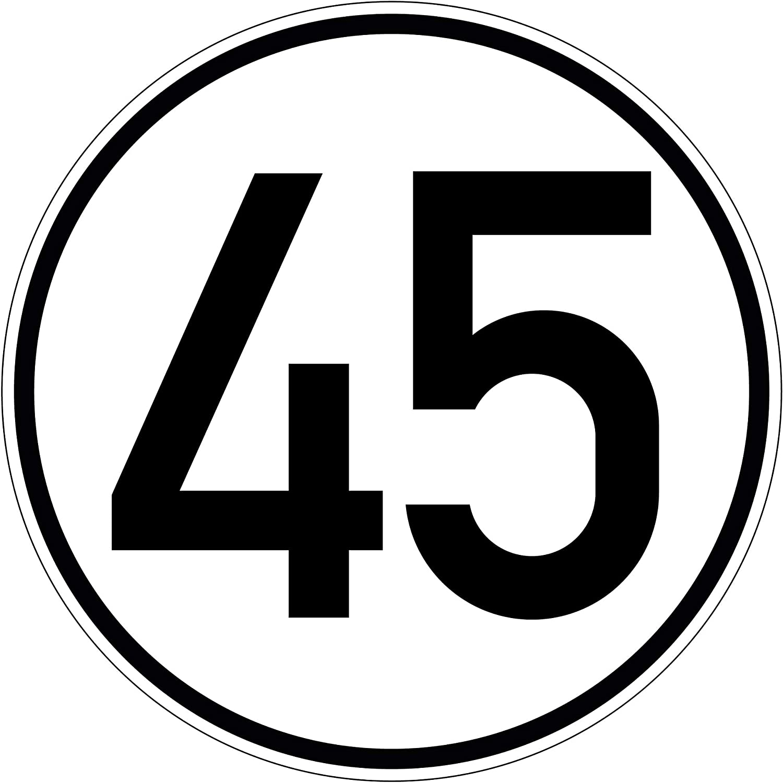 Geschwindkeitsaufkleber 45 Km H Hinweis Für Hobby Selbstklebend Folie Für Fahrzeuge Anhänger 100 Mm Plottfactory Baumarkt