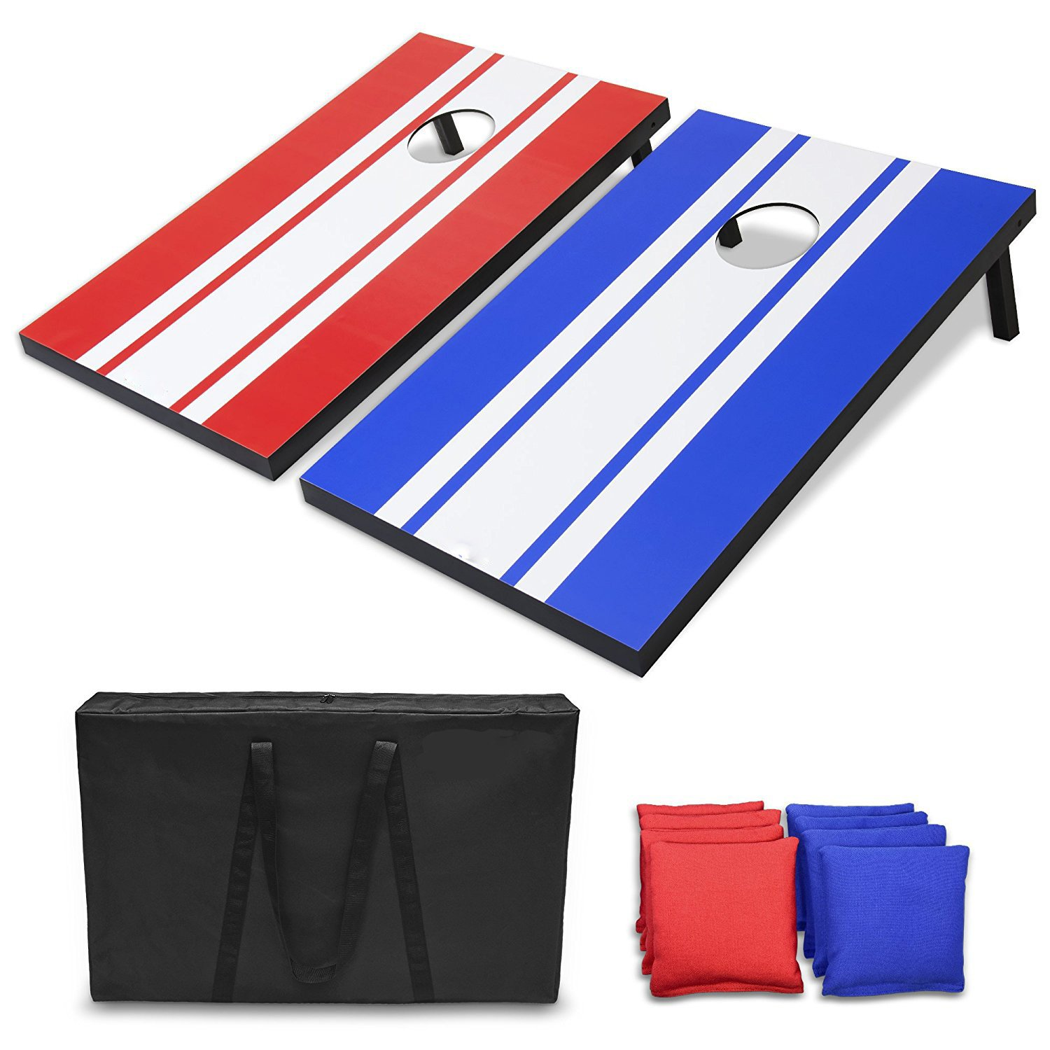 M.E.R.A. Classic Cornhole Set Includes 8 Bags, Water-Resistant 3' X 2' Boards Travel Carrying Case And Rules