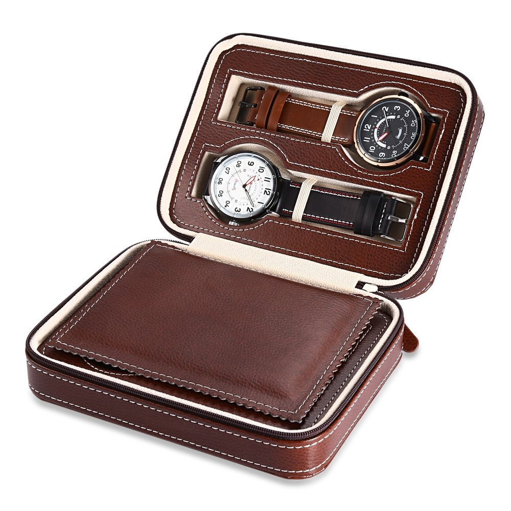 elelight 4グリッド腕時計ストレージ表示ボックス、ポータブル旅行レザー腕時計コレクターストレージケース、ギフトとしてメンズ&レディース(ブラック) ブラウン B076D1MKS5ブラウン