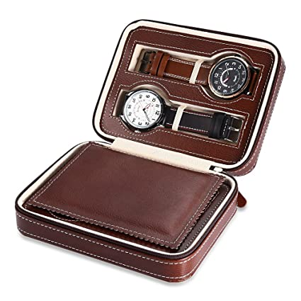 Elelight Watch Travel Case Portable Leather Zippered Watch Storage Box Display Organizer Case Best Gift For Men Women 4 Slot Brown