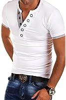 MT Styles BS-524 - T-shirt con scollo a V e bottoni