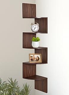 office corner shelf. Greenco 5 Tier Wall Mount Corner Shelves Walnut Finish Office Corner Shelf