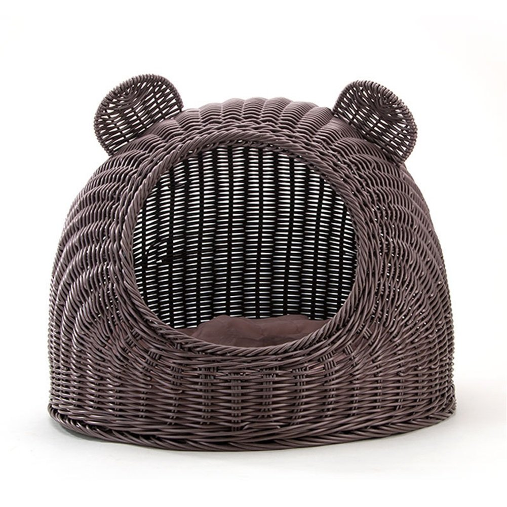 Coffee L Coffee L Vedem Handmade Pet Woven Cave Bed Kitty Condo House Sleeping Bed for Cats and Puppies, Cushion not Included (L, Coffee)