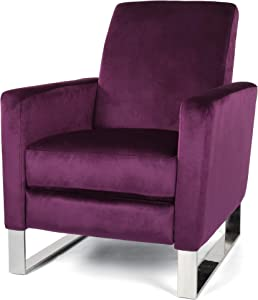 Christopher Knight Home Arvin Push Back High Leg Recliner, Eggplant, Silver