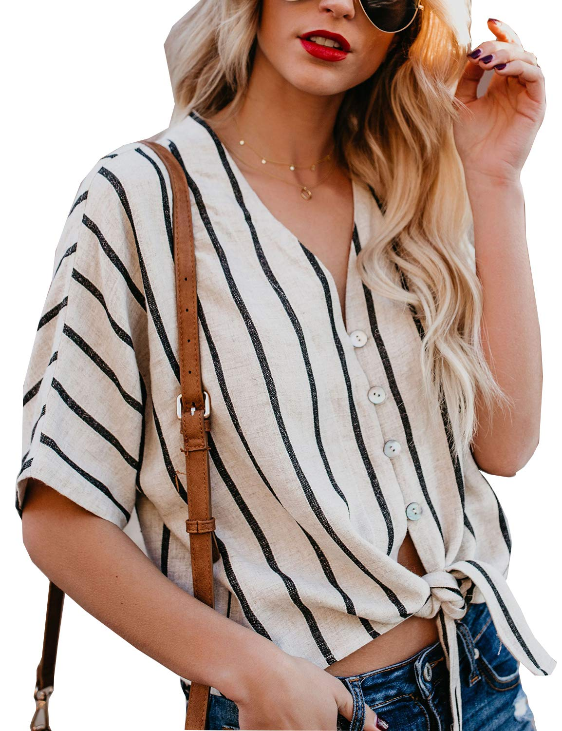 BMJL Women's Striped T Shirt Tie Knot Loose Top Short Sleeve V Neck Blouse