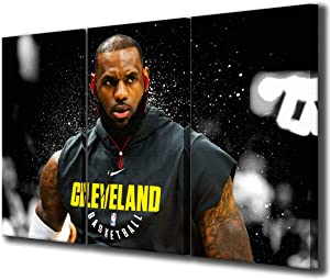Lebron James Motivational Poster NBA Cleveland Cavaliers Wall Decor Sport Canvas Prints Painting for Living Room Gift for Man & Boy Framed 3 Pieces Gallery-Wrapped Ready to Hang(42''Wx28''H)