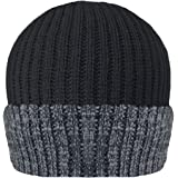 MENS RIBBED 3M THINSULATE LINED INSULATING WARM WINTER BEANIE HAT IN MELANGE COLOURS