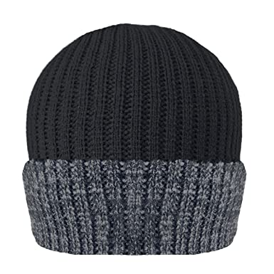 MENS RIBBED THINSULATE LINED BEANIE HAT IN MELANGE COLOURS  Amazon ... 1082cf5ae667