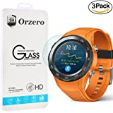 [3 Pack] Orzero Huawei Watch 2 ( Not fit for 1st version ) Tempered Glass Screen Protector, 2.5D Arc Edges 9 Hardness High Definition Anti-Scratch Anti-Fingerprint [Lifetime Replacement Warranty]