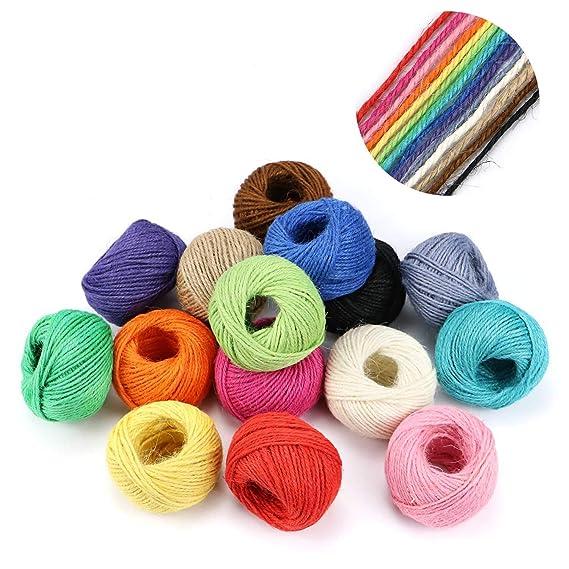 1230 pies (410 yardas) 2 mm 3 capas colorido hilo de yute natural - 15 rollo cuerda de yute, hilo de hilo para obras de arte, manualidades bricolaje, ...