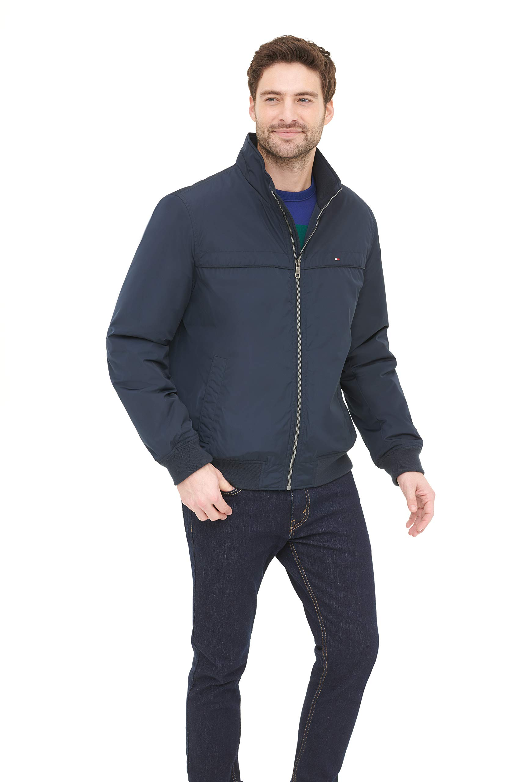 Tommy Hilfiger Men's Performance Faux Memory Bomber Jacket, Navy, S by Tommy Hilfiger