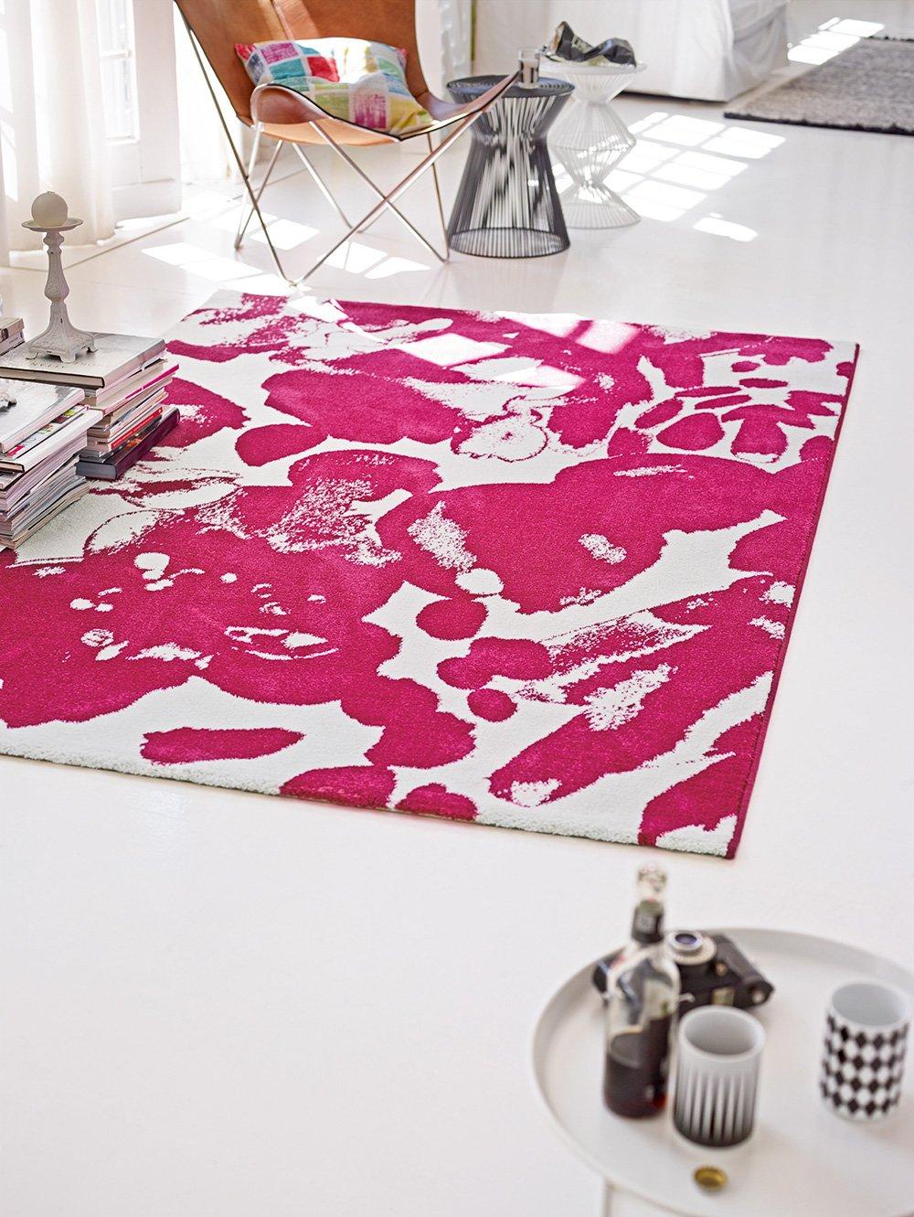 Belebender Esprit Marken Teppich, hochwertig im zeitlosen Design in knalligen Farben, Energize (120 x 170 cm, pink weiß)