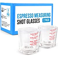 [2 Pack] Espresso Measuring Shot Glasses for Baristas or Home Use - Dishwasher Safe Espresso Shot Glasses 2oz