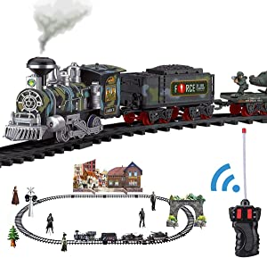 Haktoys RC Military Train Set, Battery Operated Ready to Play Steam Locomotive w/ LED Lights, Realistic Sounds, BONUS Figurine Pack, Radio Remote Controlled Simulation (Steam Oil Available Separately)