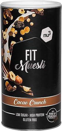Avena con proteína sabor Cacao Crunch - Fit Protein Müsli 450 g - Muesli proteico con bayas, almendras, guaraná y matcha - 36% de proteínas y solo 4% ...