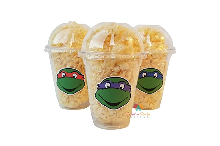 Set of 24 - Ninja Turtle Cups, Teenage Mutant Ninja Turtles, Ninja Turtles Favors, TMNT Party Favors, Ninja Turtles Stickers, Ninja Favors