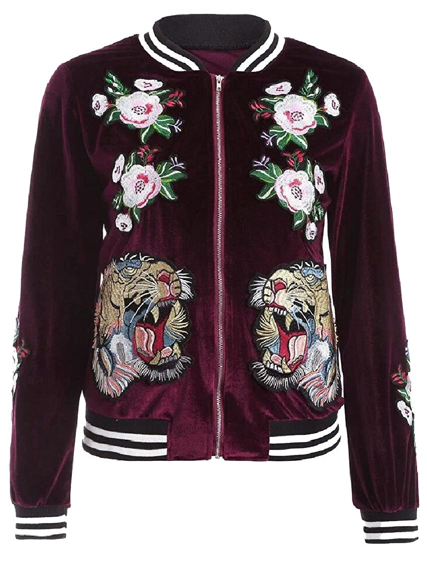 maweisong Women's Embroidery Patch Velvet Biker Quilted Bomber Flight Jacket