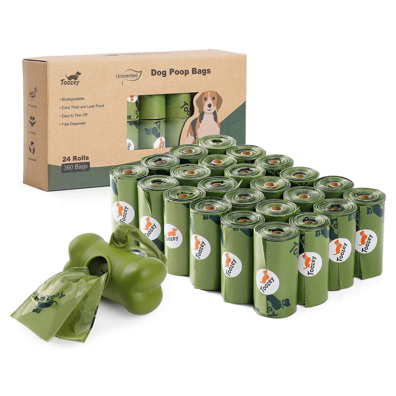 Toozey - 360 Bolsas para excrementos de Perros, biodegradables, con dispensador, 100% compostable, inodoras, para Perros