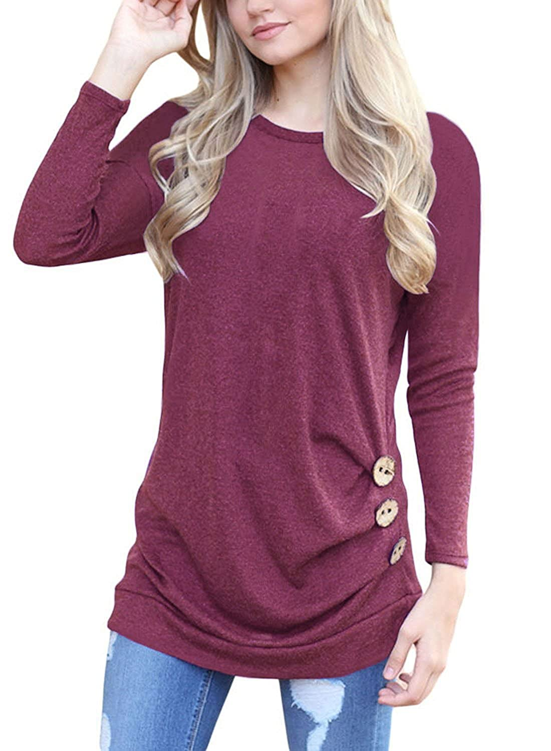 Mixmax Women Long Sleeve Loose Button Trim Blouse Solid Color Round Neck Tunic T-Shirt Top