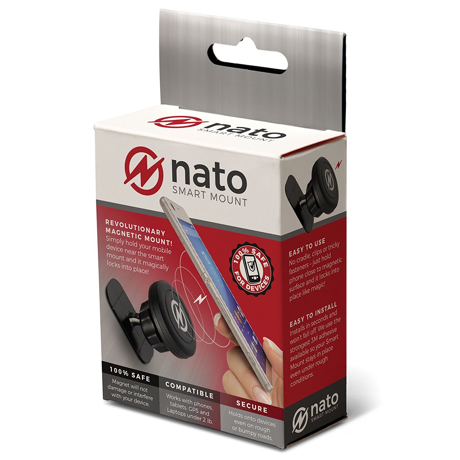 Nato Smart Mount - Magnetic Smart Device Holder Universal Adhesive (Black)