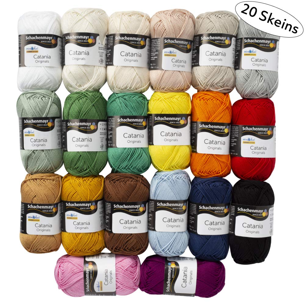 20 Skein SMC Catania Originals Yarn, 100% Cotton, Total 35.2 Oz Each 1.76 Oz (50g) / 136 Yrds (125m), Fine-Sport 2, Assorted Colors Yarn