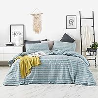 YuHeGuoJi 3 Pieces Duvet Cover Set 100% Cotton Blue Queen Size Grey Striped Bedding Set 1 Modern Geometric Print Duvet…