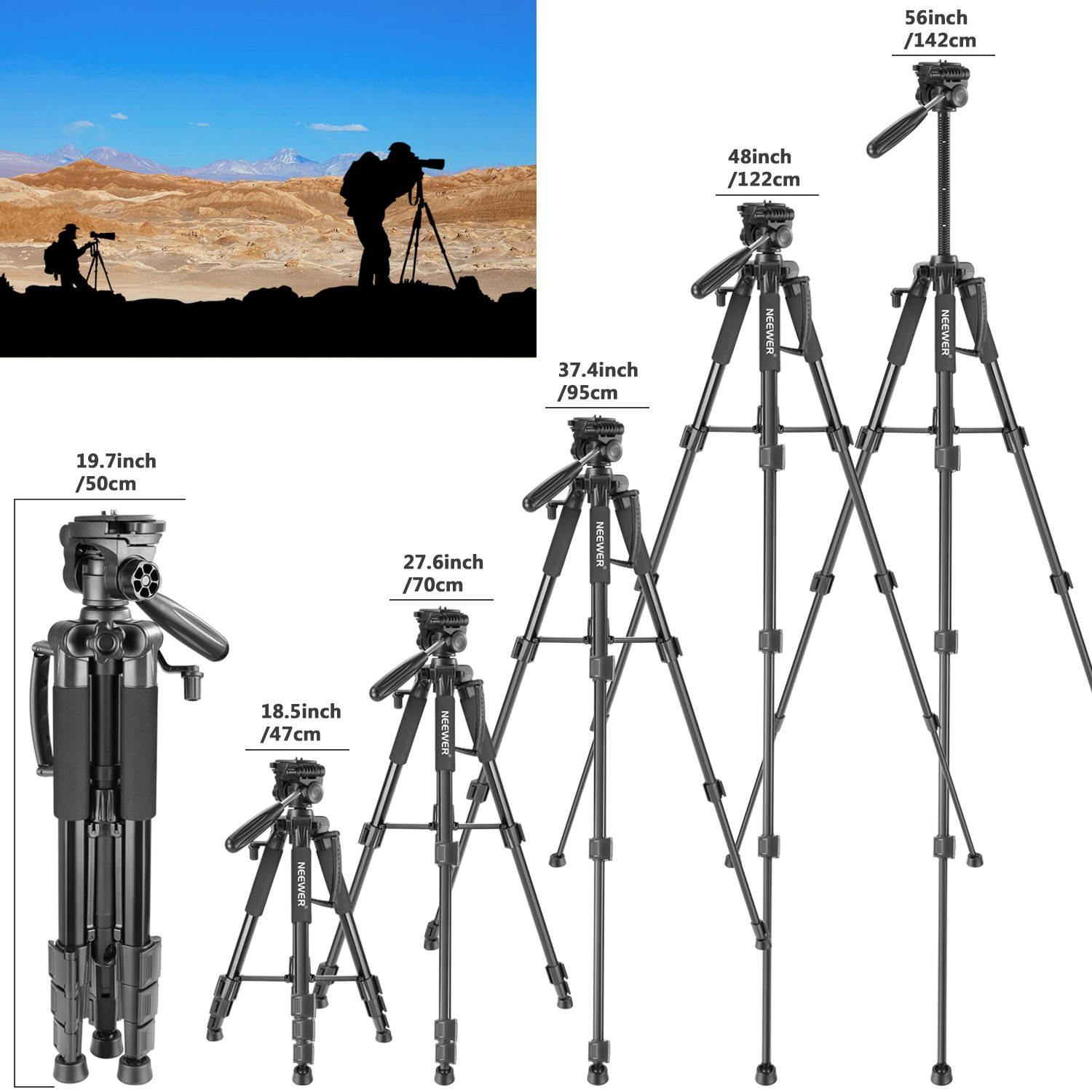 Neewer Travel Aluminum Camera Tripod 56 inches with 3-Way Swivel Pan Head and Smartphone Holder, Compatible with Canon Nikon DSLR Camera, DV Video Camcorder, iPhone and Android Smartphone (Black) by Neewer (Image #4)