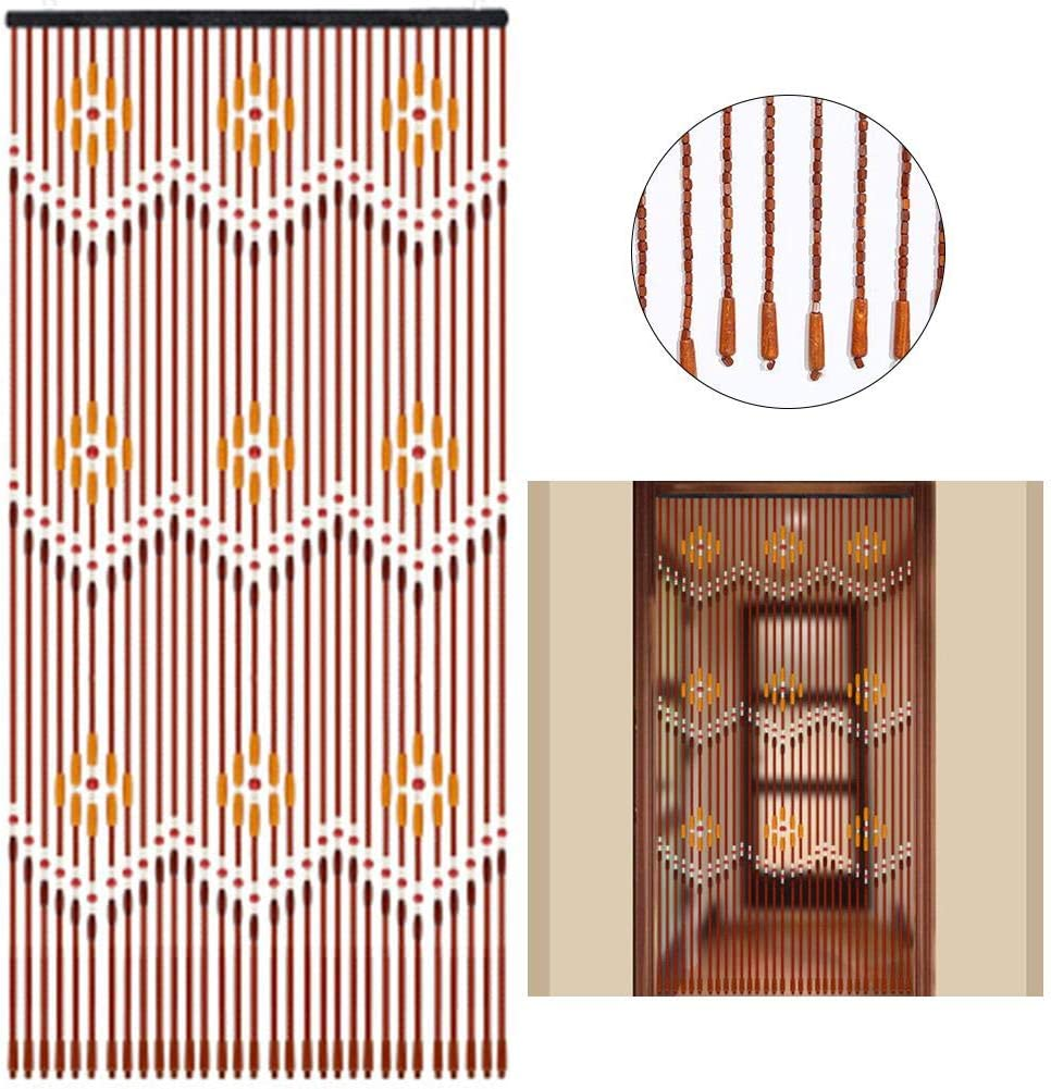 Wustrious Door Beads Curtains Wave Fly Screen Wooden Beads Curtain Handmade,90x220cm Wooden Door Curtain Blinds for Porch Bedroom Living Room Divider 31 Line