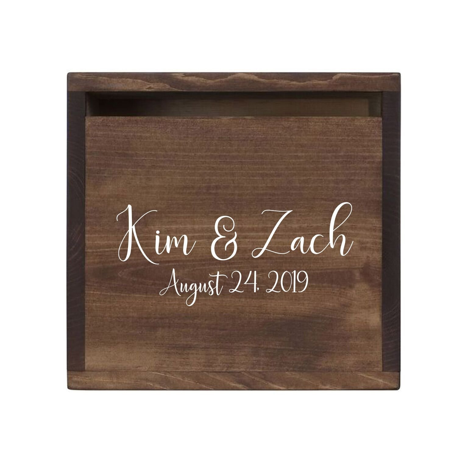 "LifeSong Milestones Personalized First Names Rustic Wooden Wedding Card Box Custom Card Holder with Front Slot for NewlyWeds Couples Reception 13.5"" L x 12"" W x 12.5"" T (Walnut)"