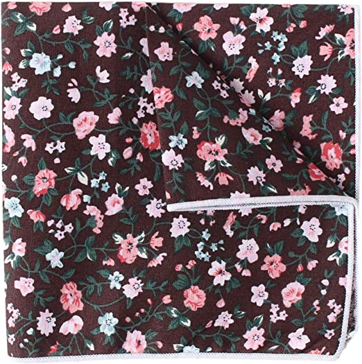 Pink Floral Print Mens 100/% Silk Pocket Square for Wedding Party and Gift Box