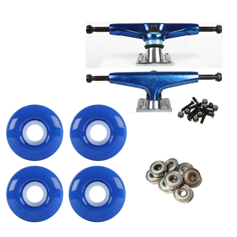 litezpeed Skateboard Trucksブルー/シルバー52 mmブルーABEC 9 BEARINGSコンボ   B07BX4Z6YD