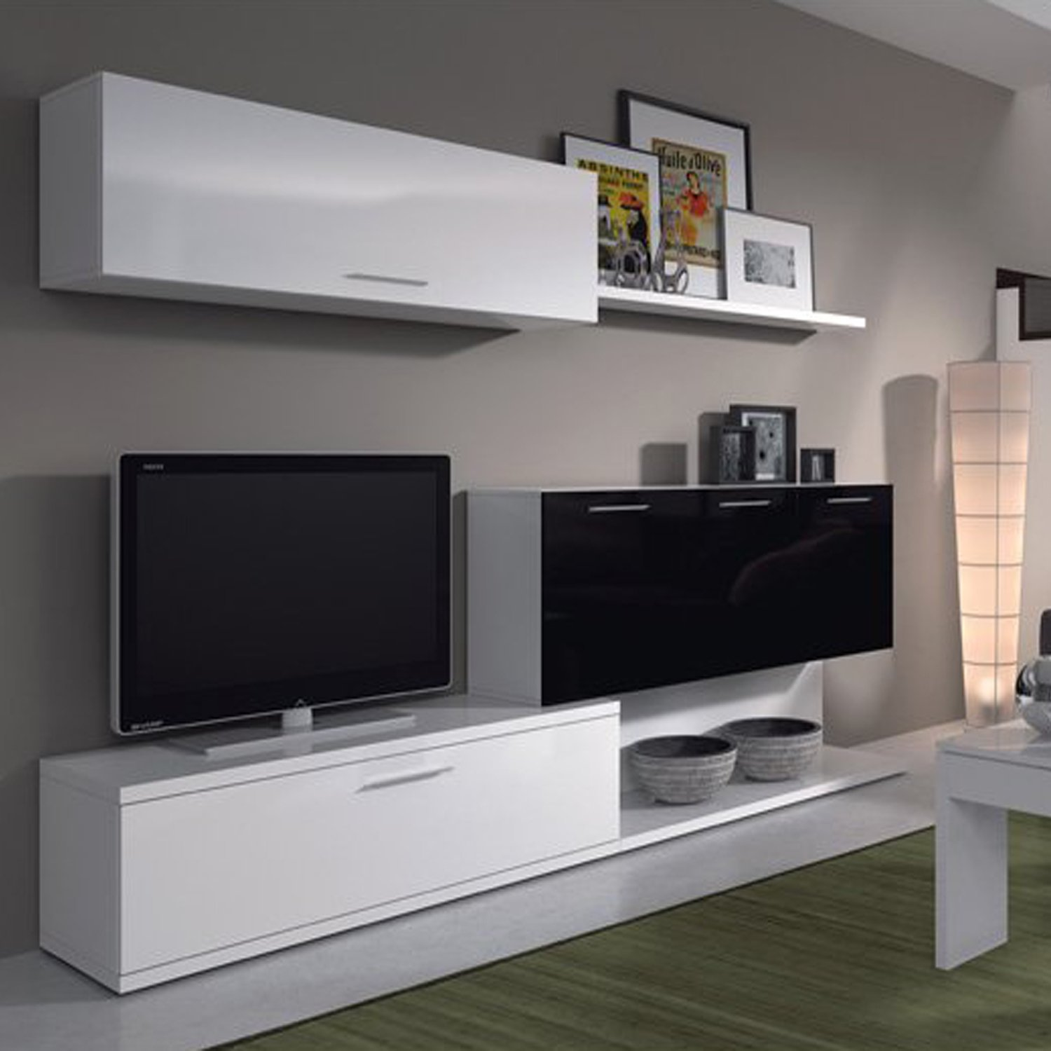 mueble de salon moderno color blanco y negro brillo due home amazones hogar - Muebles De Salon Blanco