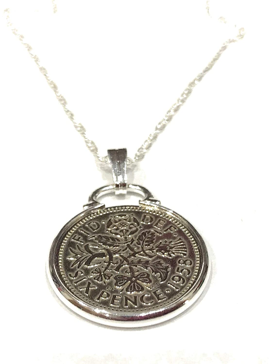 Happy 60th Birthday Fancy Pendant 1959 Lucky sixpence Sterling Silver 18in Chain