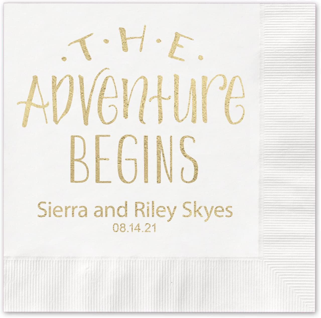 The Adventure Begins Personalized Beverage Cocktail Napkins - 100 Custom Printed White Paper Napkins with choice of foil